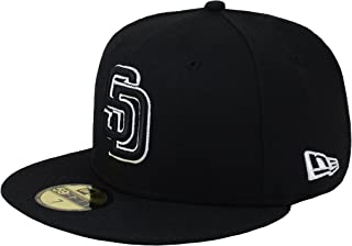 New Era 59Fifty Men's Hat MLB San Diego Padres Black/White Fitted Headwear Cap
