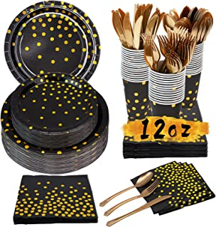 Simbago Black & Gold Party Supplies Set-350 PCS Party Tableware With Disposable Paper Plates, Napkins,12 oz Cups,Forks ,Kn...