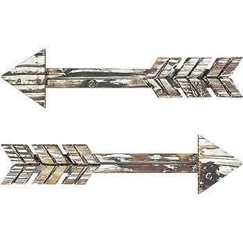 "TreasuresDeck Wooden Arrow Wall Decor - Set of 2 16.7"" x 2.5"" Arrow Home Decor- Rustic Wall Decor Arrow, Fir Wood Arrows Farmhouse arrow decorations"