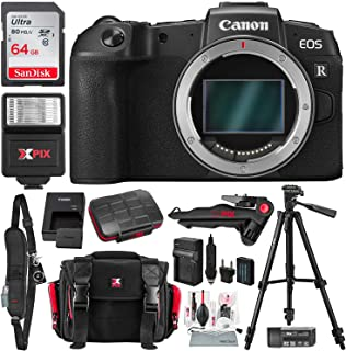 Canon EOS RP Mirrorless Digital Camera (Body Only) with 64GB Card, Battery & Charger Power Kit and Deluxe Travel Photo Bundle
