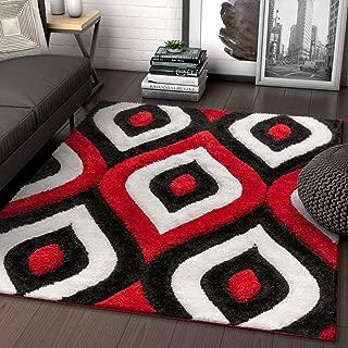 Well Woven Moira Red Geometric Trellis Thick Soft Plush 3D Textured Shag Area Rug 4x6 (3'11