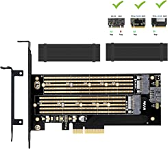 Dual M.2 PCIE Adapter for SATA or PCIE NVMe SSD With advanced heat sink solution,M.2 SSD NVME (m key) or SATA (b key) 22110 2280 2260 2242 2230to PCI-e 3.0 x 4 Host Controller Expansion Card