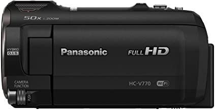 Panasonic Full HD Video Camera Camcorder HC-V770, 20X Optical Zoom, 1/2.3-Inch BSI Sensor, HDR Capture, Wi-Fi Smartphone M...