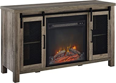 """Walker Edison Tall Farmhouse Metal Mesh Barndoor and Wood Universal Fireplace Stand or TV's up to 55"""" Flat Screen Liv"""