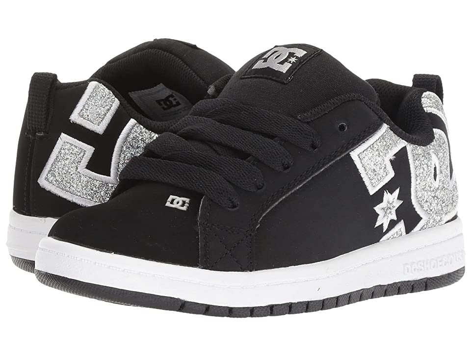 DC Kids Court Graffik SE (Little Kid/Big Kid) (Black/Silver) Girls Shoes