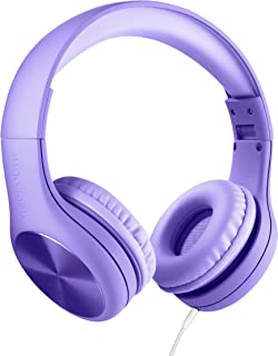 New! LilGadgets Connect+ PRO Kids Premium Volume Limited Wired Headphones with SharePort and Inline Microphone (Children) - Purple
