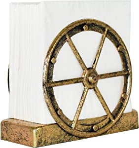 OwlGift Rustic Wheel Design Napkin Holder, Vertical Kitchen Tabletop Dispenser, dining table & Kitchen Décor, Farmhouse Upright Napkin Storage Organizer – Bronze