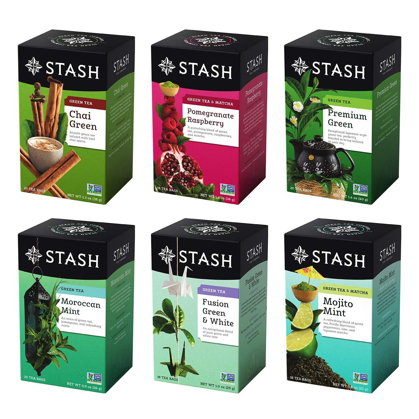 Stash Tea Green Bargain 6 Flavor 18-20 All items free shipping Boxes Sampler With
