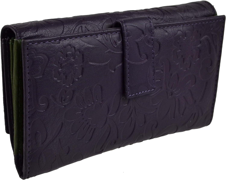 Mala Leather Women's Seasonal Wrap入荷 Long Embossed 至高 Purse Wallet
