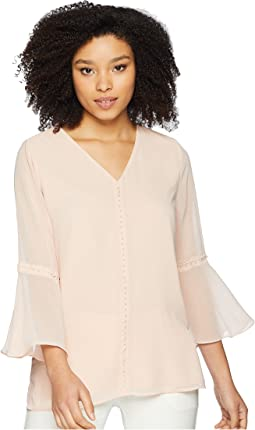 V-Neck Blouse w/ Pearl Detail