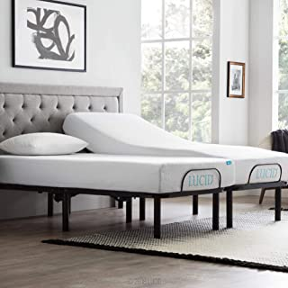 LUCID L100 Adjustable Bed Base with Lucid 10 Inch Gel Memory Foam Mattress - Split King