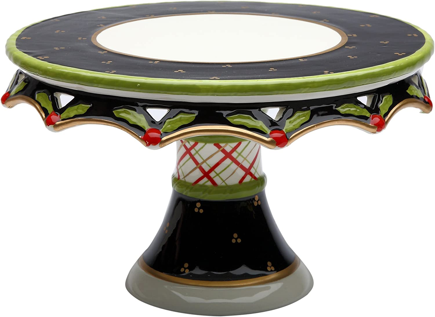 Appletree Design 40209 Holly Cake Stand, 10-1 4 by 6-1 4 by 10-1 4-Inch