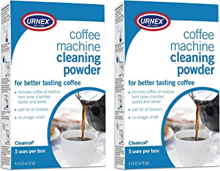 Urnex Coffee Maker and Espresso Machine Cleaner Cleancaf Powder - 2 Pack (6 Packets) - Safe on Keurig Delonghi Nespresso Ninja Hamilton Beach Mr Coffee Braun