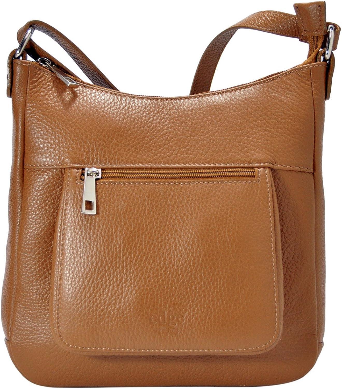Handväskan för Sabrina - kvinna's Handväska in Genuine läder läder läder med Shoulder Strap - 100% tillverkad i Florens Italia Handväskor - Storlek  24x23x2 -7cm Style (LxHxL) - EdgeModa - ZN.012 -Cognac  för din spelstil till de billigaste priserna