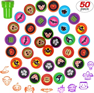 Yo-fobu 50 Pieces Funny Stamps Self-Ink Stamps Assorted Stamps for Kids for Party Favors School Prizes with Storage Bag for Free