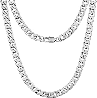 9mm Curb Mens Necklace - Silver Chain Flat Cuban Stainless Steel Jewelry - Neck Link Chains for Men Man Boys Male Heavy Military - 18 20 22 24 inch