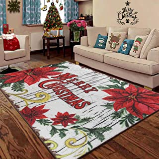 LOCHAS Merry Christmas Area Rug Holiday Indoor Rugs for Bedroom Living Room Girls, Cute Non Slip Kids Play Mat Xmas Floor Carpet Home Decoration Gifts, 3 x 5 Feet