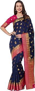 Viva N Diva Women`s Multi Color Banarasi Art Silk Saree with Unstitched Blouse Piece.