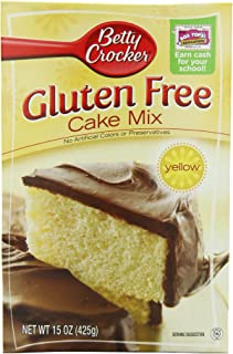Betty Crocker Baking Mix, Gluten Free Cake Mix, Yellow, 15 Oz Box (Pack of 6)
