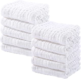 Muslin Baby Washcloths 100% Natural Cotton Face Towels 10 Pack Baby Wipes for Sensitive Skin 12''x12'' by Looxii
