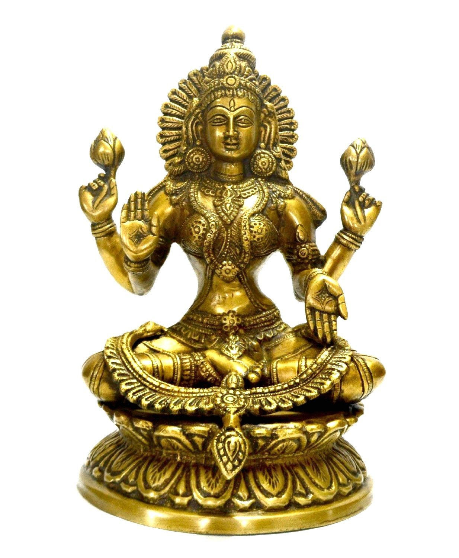 "Large 9"" Laxmi Statue Goddess Brass Lakshmi Hindu Idol Religious Metal Gift Home Decor"