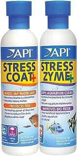 API STRESS COAT Aquarium Water Conditioner & API STRESS ZYME Aquarium Cleaning Solution 2x8-Ounce Bundle Pack