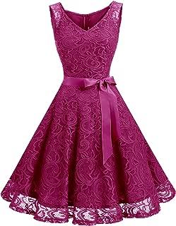 Women Floral Lace Bridesmaid Party Dress Short Prom Dress V Neck