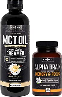 ONNIT Nootropic Stack - Emulsified MCT Oil (Vanilla - 16oz) + Alpha Brain (90ct)