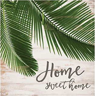 P. Graham Dunn Home Sweet Home Palm Nautical 6 x 6 Pine Wood Tabletop Word Block Plaque