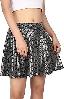Womens Shiny Mermaid Fish Scale Mini Flared Pleated Skater Skirt