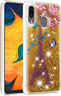 Glitter Case for Samsung Galaxy A40,QFFUN Bling Floating Liquid Quicksand Soft Clear Slim Fit Silicone Case Shockproof Transparent Protective Cover Bumper - Butterfly Tower