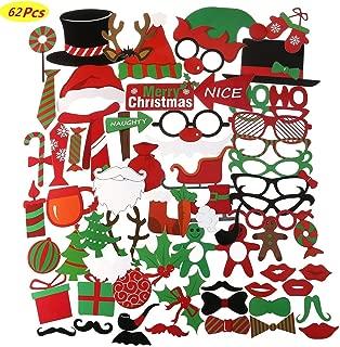 COSORO 62 Piezas Navidad DIY Photo Booth Props Cabina De Fotos Accesorios-Artículos para fiestas y decoraciones navideñas, máscaras para fiestas de Santa Hat Photo Booth Props Bigote en un palo