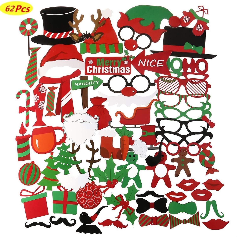 m/áscaras para fiestas de Santa Hat Photo Booth Props Bigote en un palo COSORO 62 Piezas Navidad DIY Photo Booth Props Cabina De Fotos Accesorios-Art/ículos para fiestas y decoraciones navide/ñas