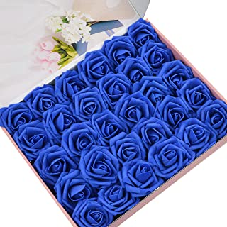 DerBlue 60pcs Artificial Roses Flowers Real Looking Fake Roses Artificial Foam Roses Decoration DIY for Wedding Bouquets Centerpieces,Arrangements Party Home Decorations(Royal Blue)