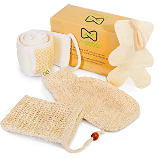 Moobo® Coffret Douche et Bain, 1 Sangle Brosse Lave Dos sisal +1 poche pour savon solide +1 gant de toilette exfoliant cri...
