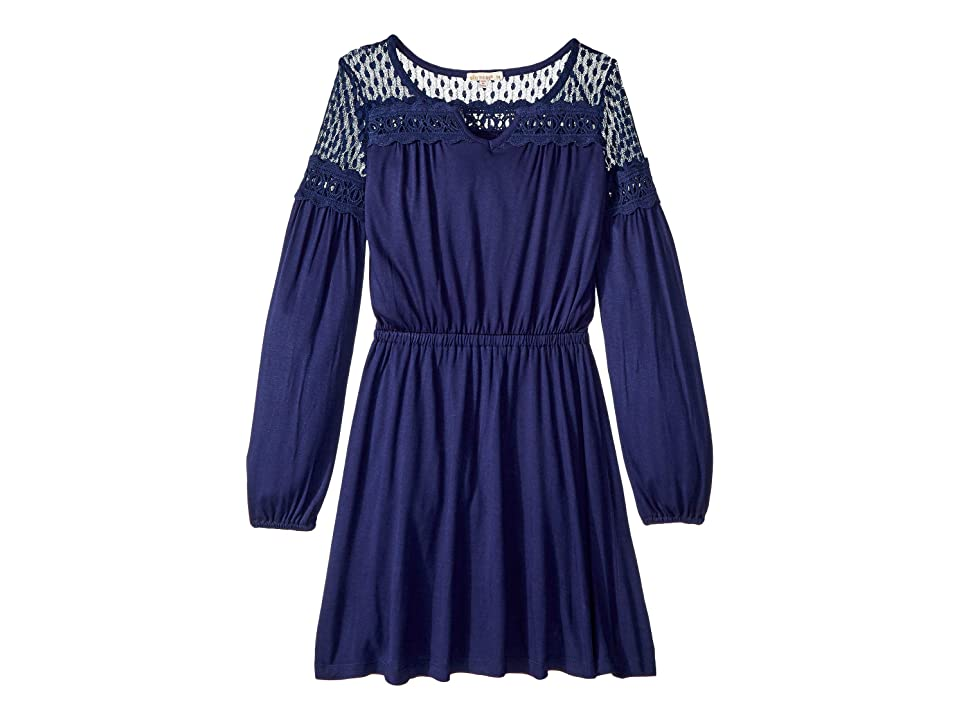 Ella Moss Girl Midi Dress with Mesh Trim (Big Kids) (Navy) Girl