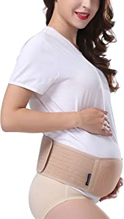 Maternity Belt, Belly Band for Pregnancy, Back and Pelvic Support, Breathable Abdominal Binder, Helps Relieve Hip, Sciatica or Round Ligament Pain, One Size Fits All, Beige