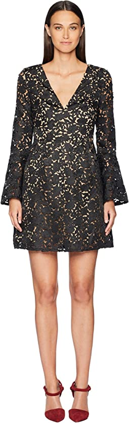 Laser Cut Bell Sleeve Dress