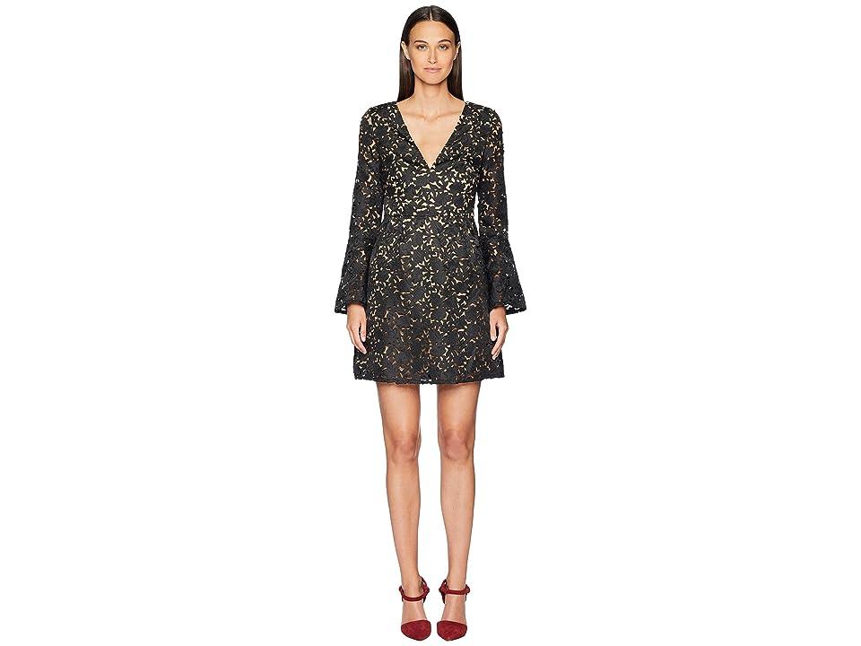 ML Monique Lhuillier - ML Monique Lhuillier Laser Cut Bell Sleeve Dress