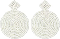 Kenneth Jay Lane - Small White Diamond Shape Top/Round Seedbead Pierced Earrings