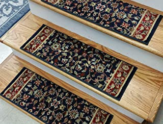 "Rug Depot Traditional Oriental Non Slip Carpet Stair Treads - Navy Blue Background - Set of 7 Treads 26"" x 9"" - Applied with Non Slip Tabs - 100% Polypropylene Custom Made Stair Treads - 839128"