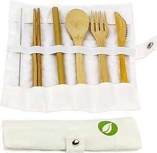 OrganicMe - Cubertería de bambú (6 Piezas: Cuchillo, Tenedor, Cuchara, Pajita, Palillos, Limpiador)