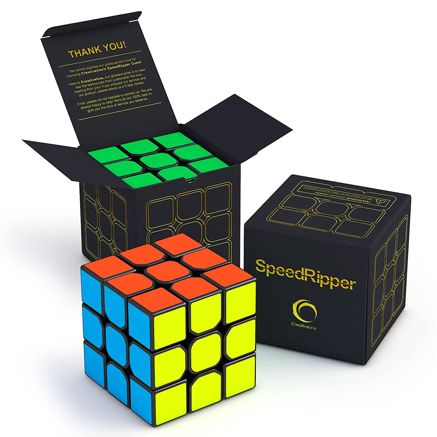CreativeLine SpeedRipper Cube: Perfect for International Speed Cube Competitions - Buttery Smooth Turning - Solid & Durable, Best 3x3 Puzzle Magic Toy - Turns Quicker Than Original