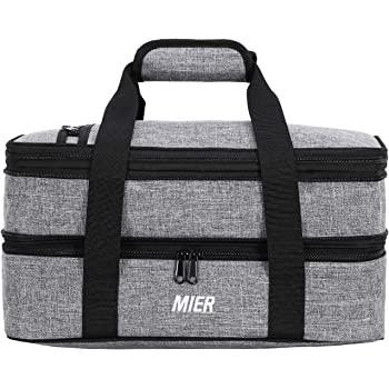 """Picnics,Beaches,Traveling or Gifts,Fits 9/""""x13/"""" Baking Dish,Gray Poruary Casserole Carrier for Hot or Cold Food,Expandable Insulated Bag,Perfect Lasagna Holder Tote for Potlucks"""