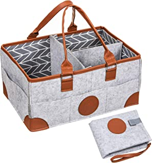 Brass Penguin Baby Diaper Caddy Organizer with Portable Changing Pad - Large 15 x 7.5 x 10 Inch Nursery Storage and Portable Car Organizer for Baby Wipes, Diapers, Toys