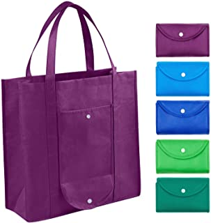 Grocery Bags Reusable Foldable for Shopping (set of 5), Foldable Into Pouch, Extra Large & Durable Heavy Duty Shopping Tot...