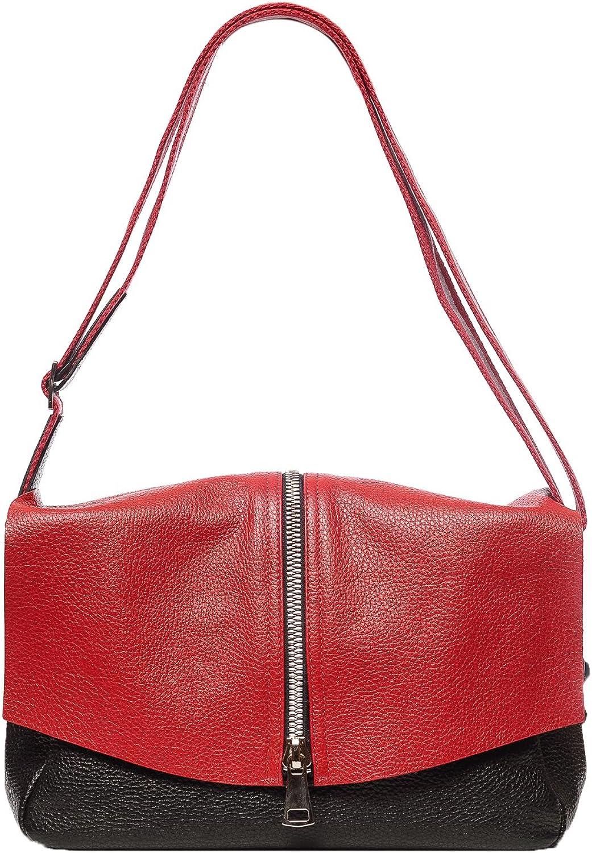 Fashion crossbody & hobo & shoulder italian leather handbag. Model  red & black.