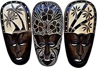 All Seas Imports Gorgeous Set of (3) Hand Chiseled Wood African Style Wall Decor Palm Tree, Bamboo Tree, Hibiscus Flower Mask