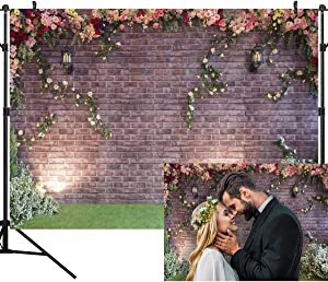 OUYIDA 7X5FT Brick Wall Flower Photography Background Spring Garden Flower Backdrop Vinyl Backdrop Wedding Party Decorations Photography Backdrop Bridal Shower Supplies Photo Booth PCK05