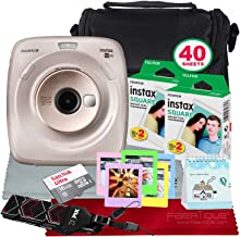 FUJIFILM Instax Square SQ20 Hybrid Instant Camera (Beige) - Deluxe Accessory Bundle with 40 Sheets of Instant Film & More
